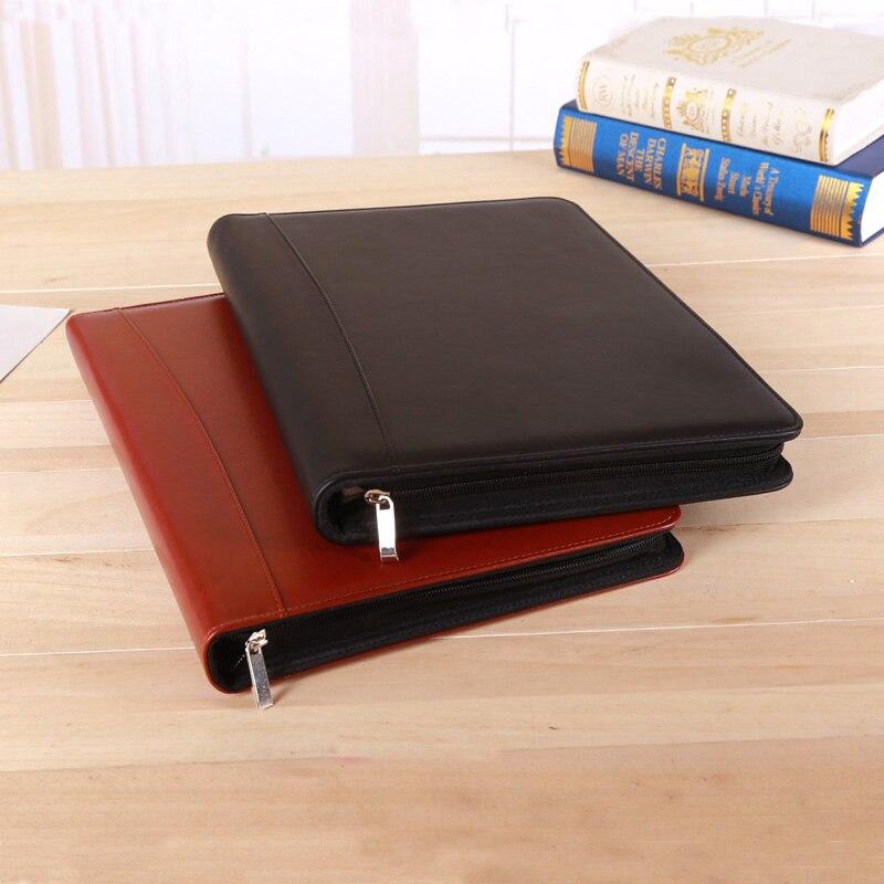 [해외]A4 zipper faux leather business manager bag file folderring binder briefcase handbag for conference agreement s 1311B/A4 zipper faux lea