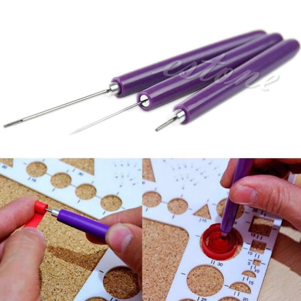 [해외]3 개/대 종이 quilling 도구 종이 접기 diy-2 모듬 된 바늘 & 1 slotted 도구