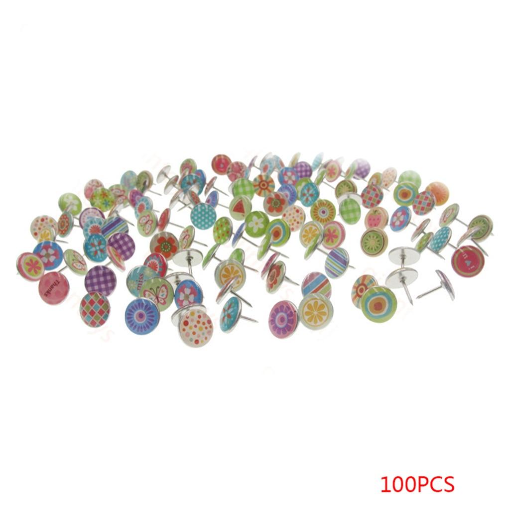 [해외]/Colorfil 100PCS Soft Flat Steel  for Photos Wall Maps Corkboards 11mm Thumb Tacks Push Pins