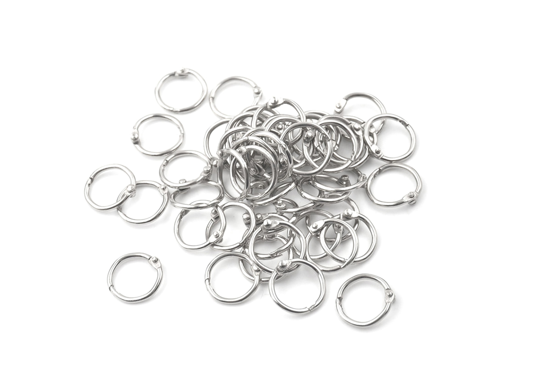 [해외]50Pcs Metal Staple Loose Leaf Circlip Ring Outer Diameter 20mm Keychain Book Binder Ring/50Pcs Metal Staple Loose Leaf Circlip Ring Outer Diameter