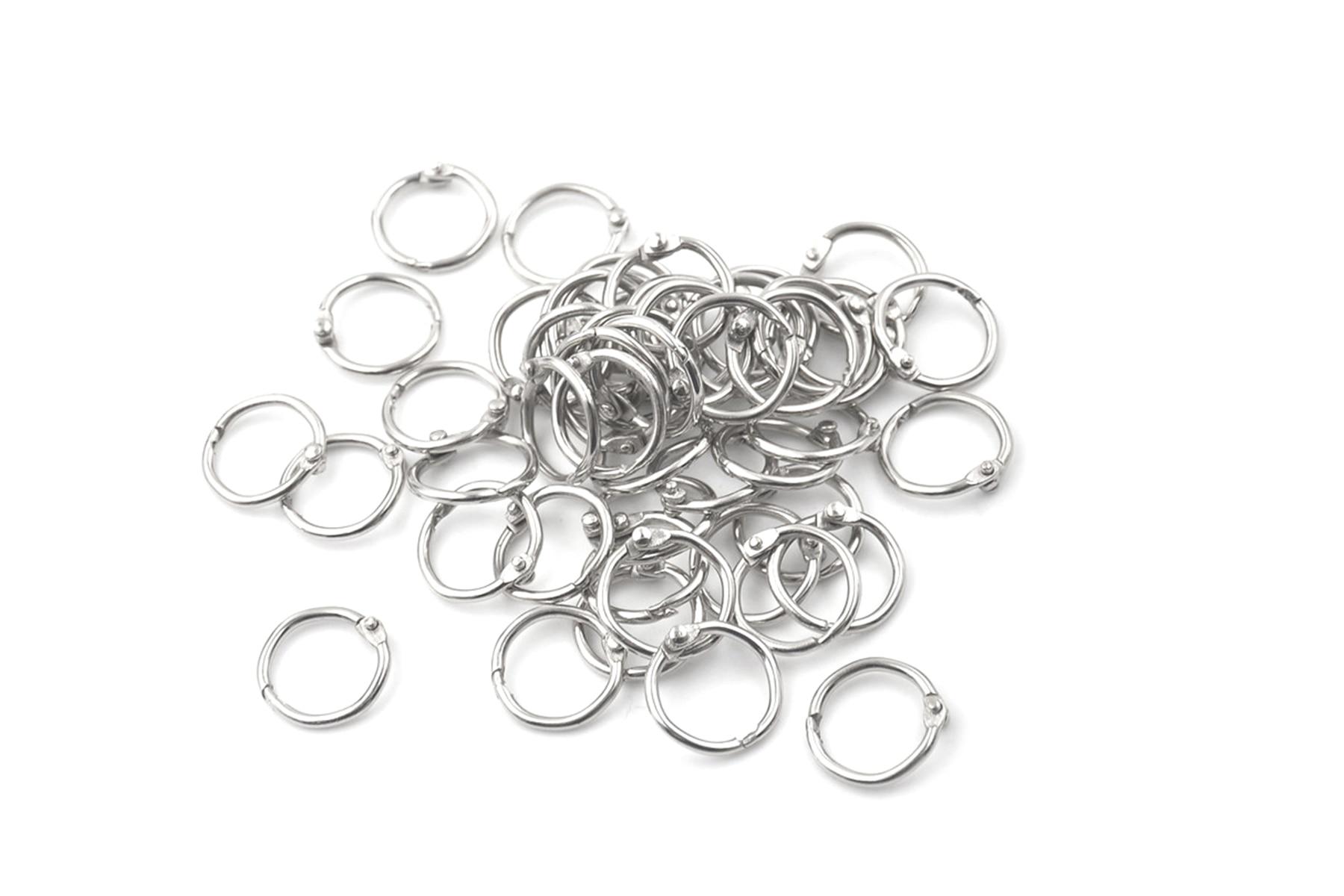 [해외]50Pcs Metal Staple Loose Leaf Circlip Ring Outer Diameter 20mm Keychain Book Binder Ring/50Pcs Metal Staple Loose Leaf Circlip Ring Outer Diameter