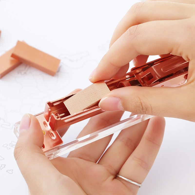[해외]/Dokibook lovedoki New Creative Rose Gold Staple Metal Staple For Staplers 2019 Trend Office Accessories 24/6 Stationery Supplies
