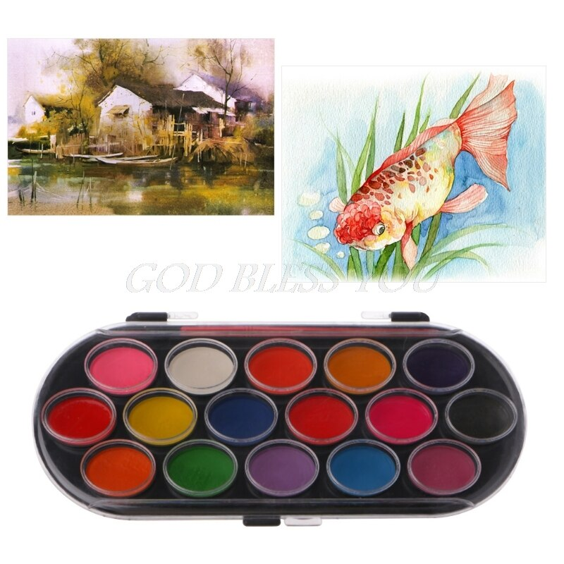 [해외]Colorful New 16PCS Watercolor Palette Brush Set Painting Tray Craft Drawing Art Mini Kid Gift/Colorful New 16PCS Watercolor Palette Brush Set Pain