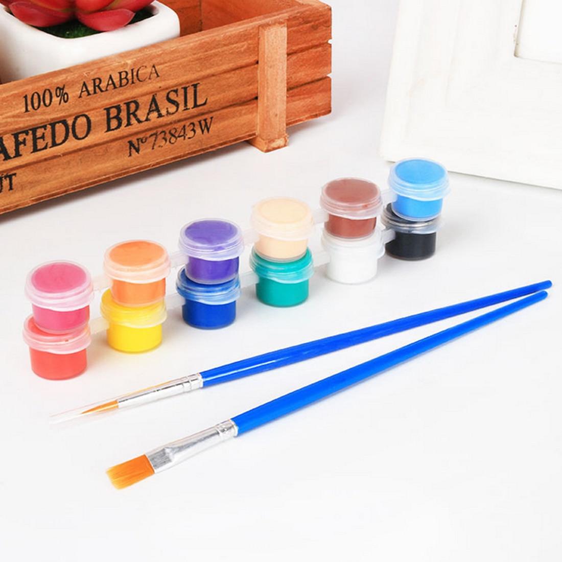 [해외]12 Colors Acrylic Paints WaterBrush Pigment Set for Clothing Textile Fabric Hand Painted Wall Plaster Painting Drawing For Kids/12 Colors Acrylic