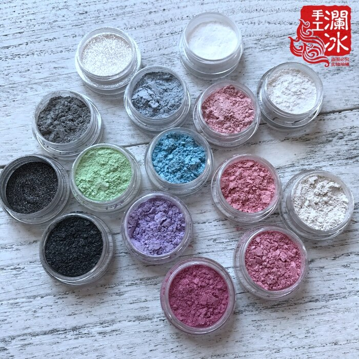 [해외]45ML=15Colors Natural Mineral Cosmetic Mica Pearl Pigment Powder Color Pearlescent pigment,pearl luster pigment,Mica Powder/45ML=15Colors Natural