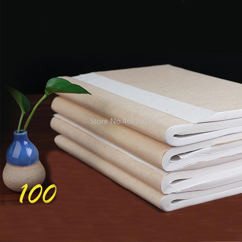 [해외]100Pcs/lot Rice Paper Semi-Raw Xuan Paper Calligraphy Painting Creation Chinese Painting Paper Special MediumBrush Writing Paper/100Pcs/lot Rice P