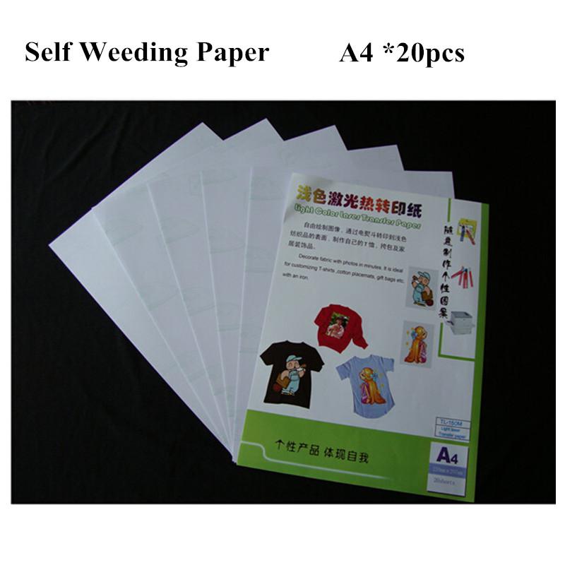 [해외]20pcs Laser Iron On Heat Transfer Sheet Printing Paper A4 Light Color Self Weeding Paper For T shirt Thermal Transfers Papel/20pcs Laser Iron On H