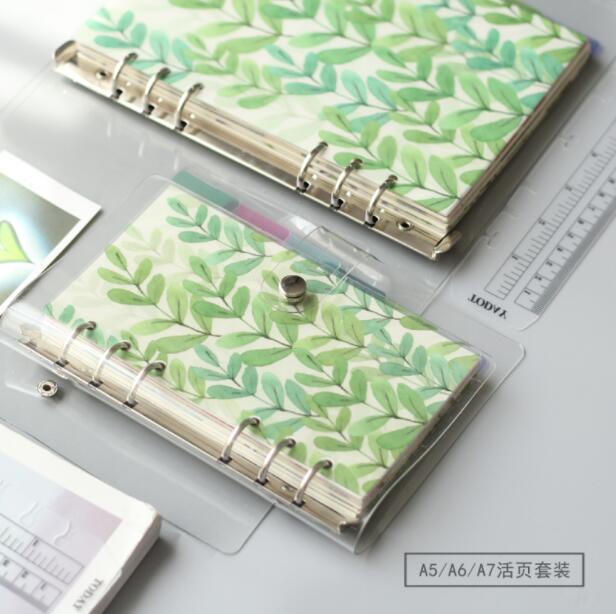 [해외]신선하고 간단한 투명한 수첩 A5 A6 A7 종이 수첩 안쪽에 학교 용품 일일 도우미 세트/Fresh And Simple Transparent Notebook A5 A6 A7 Inside Paper Organizer Set School Supplies Daily