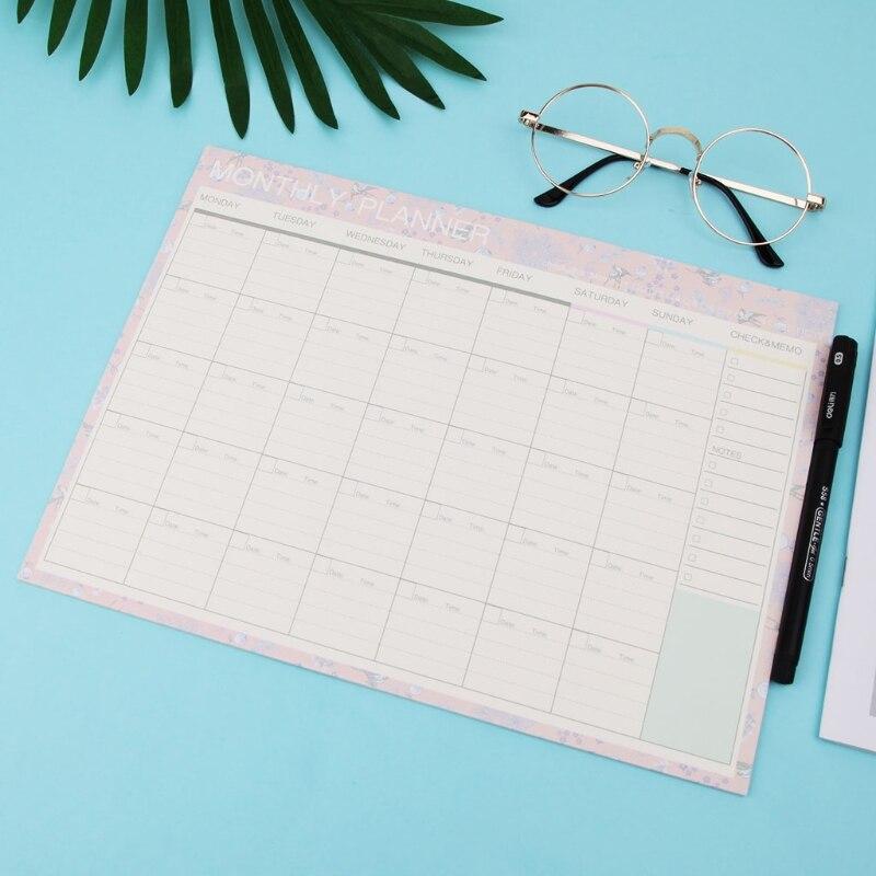 [해외]월간 용지 패드 20 매 DIY 플래너 데스크 일정표 선물 스쿨 사무용품/Monthly Paper Pad 20 Sheets DIY Planner Desk Agenda Gift School Office Supplies