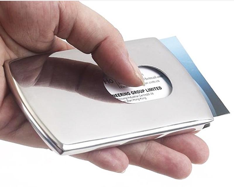 [해외]Vogue Thumb Slide Out Stainless Steel Pocket Business ID Credit Card Holder Case Men Office Supplies/Vogue Thumb Slide Out Stainless Steel Pocket