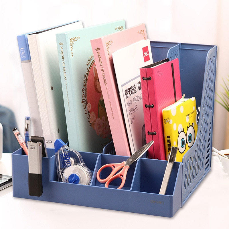 [해외]Deli Shelf Four-link Document Column Data ShelfPen Tube Office Receiving Box Basket Paper Book Desk Organizer File Tray/Deli Shelf Four-link Docum