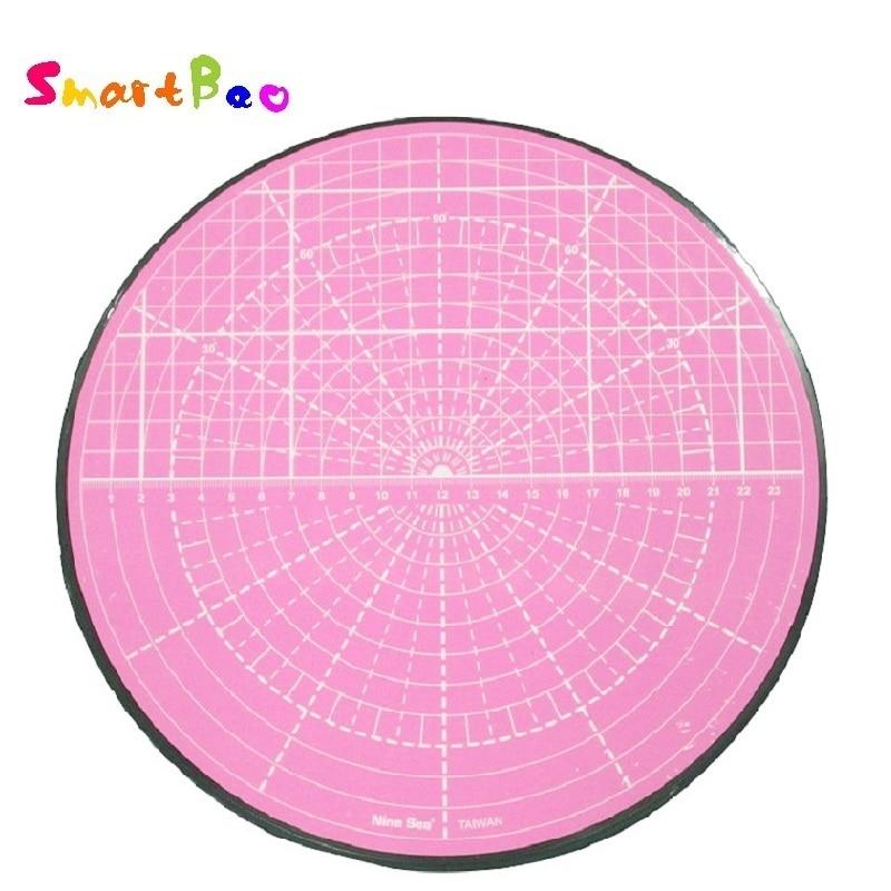 [해외]핑크 회전 커팅 매트 곡선 원형 절단 모델 그림, 화분 절단, 360 회전, 직경 25.5 cm/핑크 회전 커팅 매트 곡선 원형 절단 모델 그림, 화분 절단, 360 회전, 직경 25.5 cm
