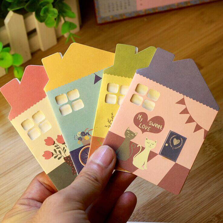 [해외]5pcs 한국어 편지지 미니 생일 인사말 카드 스위트 HouseEnvelope 휴일 할로우 카드/5pcs Korean Stationery Mini Birthday Greeting Card Sweet HouseEnvelope Holiday Hollow Card