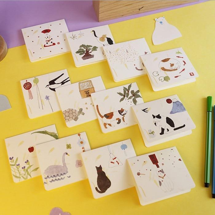 [해외]5pcs와 아름다운 창조적 인 새해 인사 카드 DIY 작은 신선하고 창조적 인 동물 일반 인사말 카드 인사말 카드/5pcs and beautiful creative new year greeting card DIY small fresh and creative an