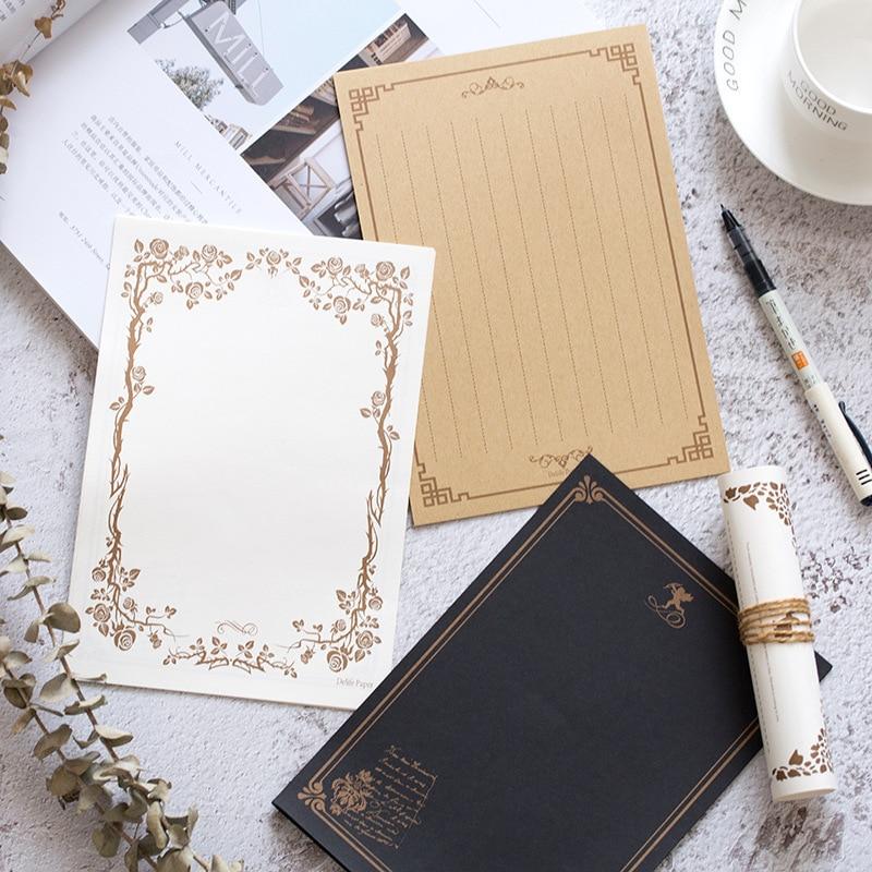 [해외]크래프트 검정 레터 용지 16 매 빈티지 플라워 디자인 레터 헤드 레터 쓰기 종이 레터 패드 드로잉 스케치 패드 문구/Kraft Black Letter Paper 16sheets Vintage Flower Design Letterhead Letter Writin