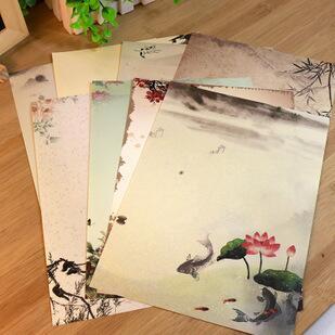[해외]8pcs/lot  260*185mm China retro style series Vintage Chinese style Color DIY Multifunction Kraft letter paper set nice Gift/8pcs/lot  260*185mm Ch