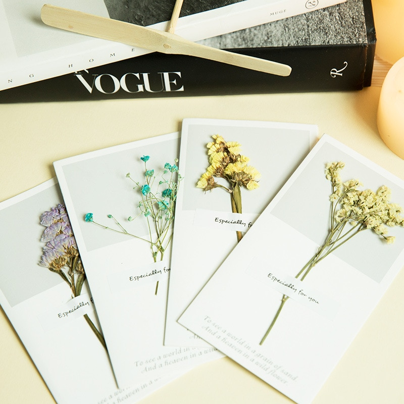 [해외]5pcs Muguang New Small Creative Dry Flower Birthday Card Mother`s Day Card Universal Wishes Birthday Card/5pcs Muguang New Small Creative Dry Flow