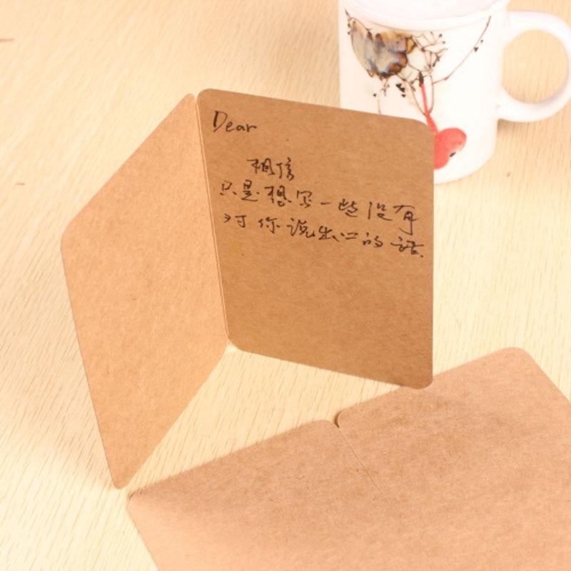 [해외]5pcs Blank Kraft Paper Card Sketch Drawing Folding Gift Card White Kraft Black Letter Postcard DIY Graffiti Painted Message Card/5pcs Blank Kraft