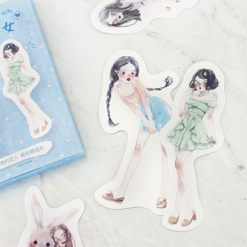[해외]1pcs letter lovers half-baked girl shaped postcard character girl pockets material card creative illustration greeting card/1pcs letter lovers hal