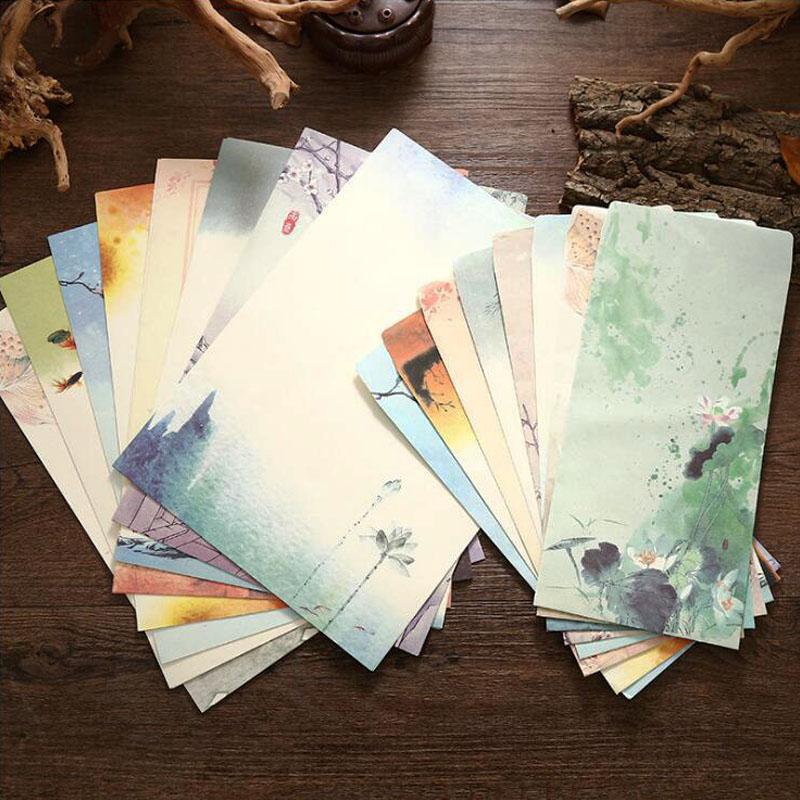 [해외]4Pcs Letter Paper / 2pcs Envelope Red and Purple Craft Paper Card Scrapbooking Gift in Chinese Style Envelope/4Pcs Letter Paper / 2pcs Envelope Re