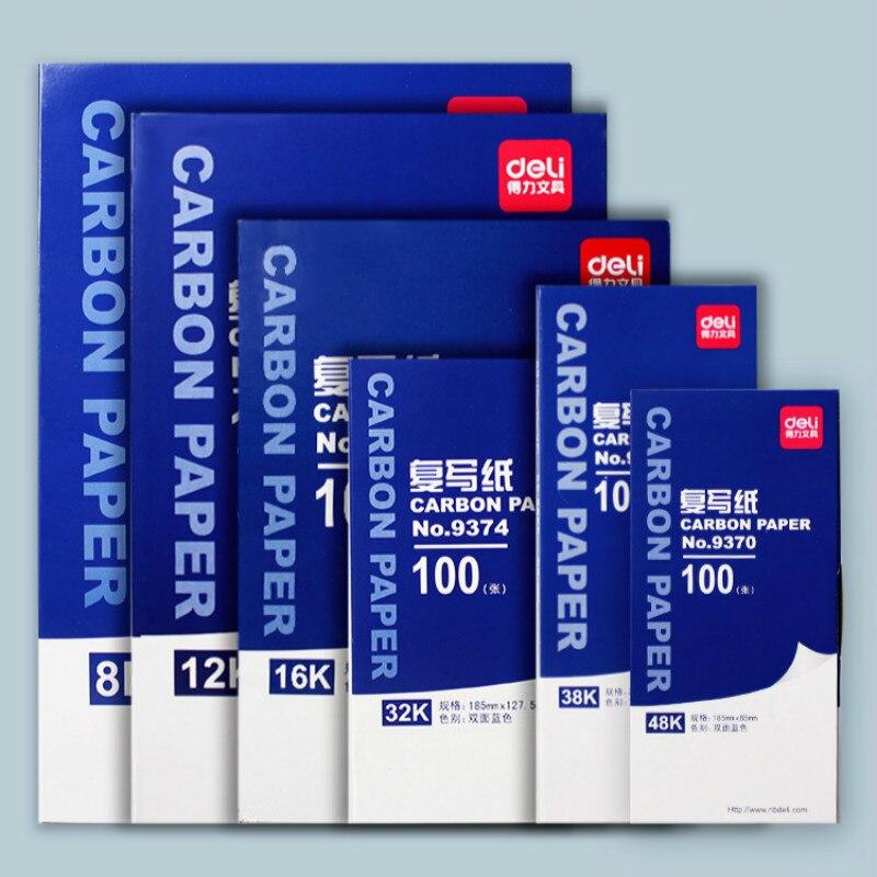 [해외]Deli 9370  9372  9374  9375  9376  9378 탄소 종이 양면 carbonless 복사 용지 얇은 100 매 인쇄 및 염색 용지/Deli 9370  9372  9374  9375  9376  9378 탄소 종이 양면 c