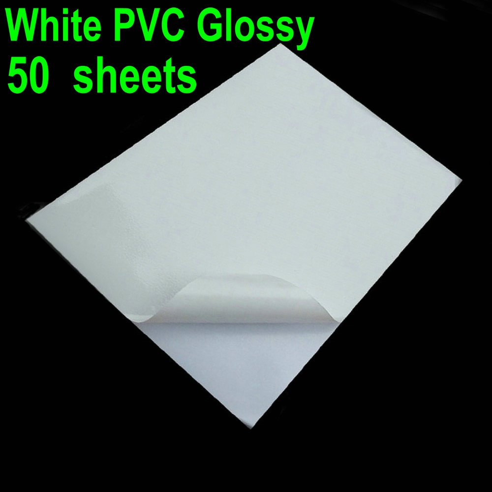 [해외]50 Sheets Glossy & White PVC A4 Sticker Vinyl PVC Super White Waterproof Sticker ONLY For Laser Printer/50 Sheets Glossy & White PVC A4 St