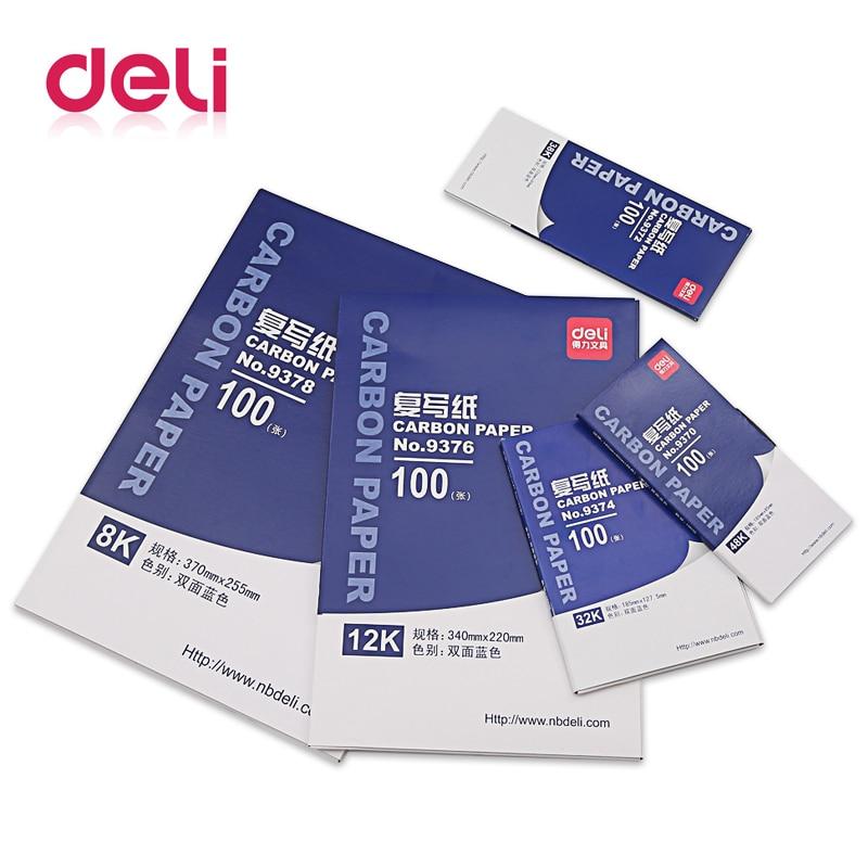 [해외]/ Deli 1 Pack 100 Sheets Blue Color 48K Thin Carbon Paper Include 3 Red Ones 48K 85mmx185mm Accounting Supplies 9370