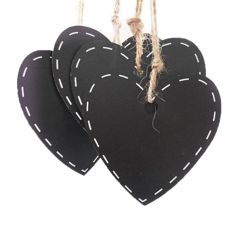 [해외]10pcs Mini Wooden Hanging BlackboardHemp String Love Heart  Shape Chalkboard Luggage Label Message Board Hang Tags/10pcs Mini Wooden Hanging Black