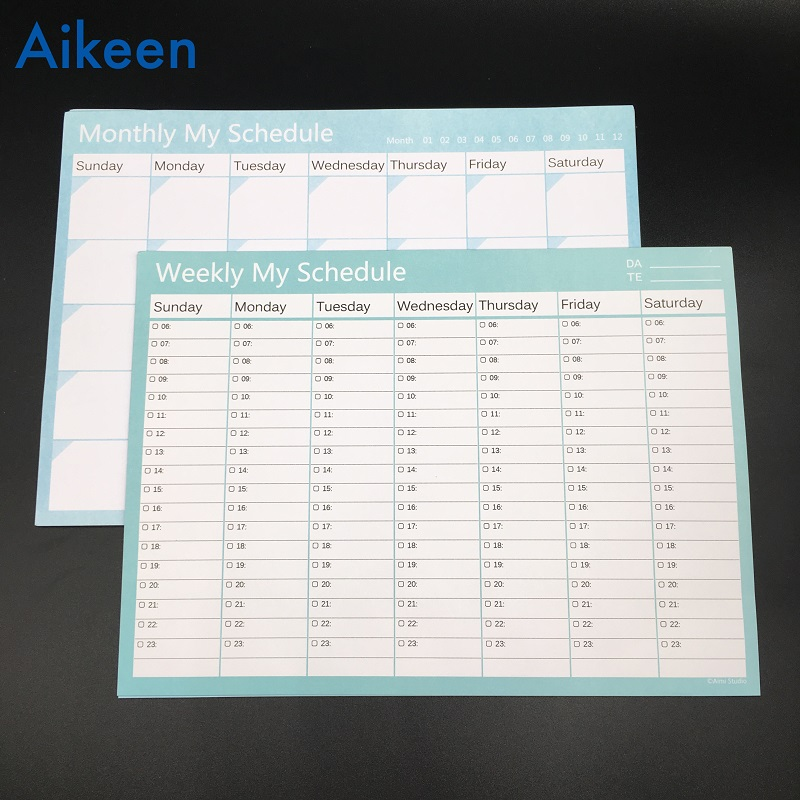 [해외]1Pc / 20sheets 공부 일일 주간 My Schedule Planner 나선형 메모장, Office Desk Organizer 메모장 확인 목록/1Pc/20sheets Study Working Daily Week Month My Schedule Plann