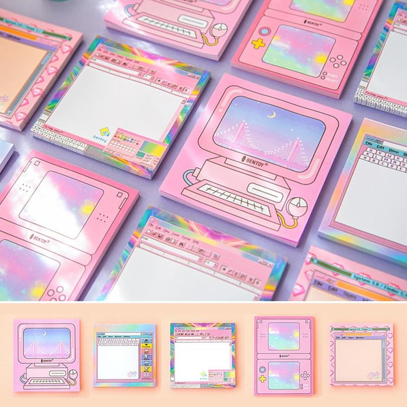 [해외]귀여운 핑크 스타일 컴퓨터 게임 모델 메모 메모 크리 에이 티브 N 번지 접착제 노트북 포켓 선물 문구 스티커 Scrapbooking/Cute Pink Style Computer Game Modeling Notes Memo Creative N Times Adhe