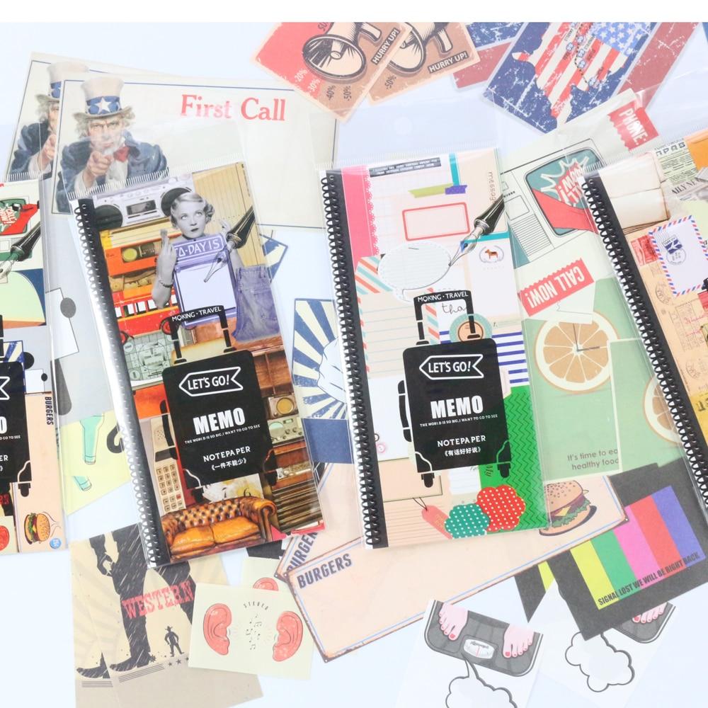 [해외]여행 잡지 저널 노트북을도미 키 빈티지 만화 메모 패드 가방, 노트 필기 노트 노트 세트/Domikee vintage cartoon memo pad bag for travel journals notebooks stationery,classic writing no