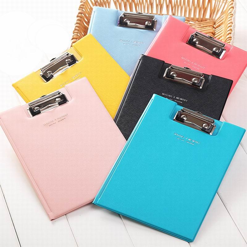 [해외]50 PC / 많은 캔디 컬러 다기능 가죽 폴더 파일 클립 보드 A5 학생 쓰기 클립 보드 학교 & amp; 사무실/New arrival 50 pcs/lot Candy Color Multifunction Leather Folder File Clipboar