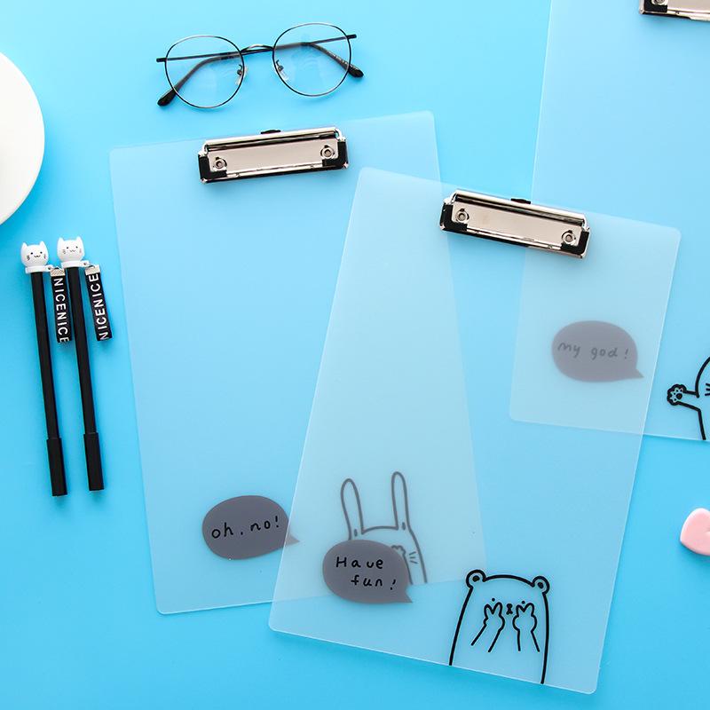 [해외]A4 귀여운 인쇄 플라스틱 클립 보드 투명 PVC 만화 쓰기 보드 클립/A4 Cute Printed Plastic Clips Boards Transparent PVC Cartoon Writing Board Clip